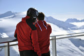 Skiers enjoying the winter mountain panorama at Kitzsteinhorn pe — Stock Photo