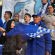 Supporters of Pandurii Targu Jiu at a soccer game — Stock Photo