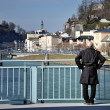 Stock Photo: Old mon bridge, Salzach river in Salzburg