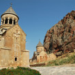 Noravank monastery in Armenia, red rocks in the background — Stock Photo