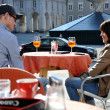 Tourists relaxing in the historical center of Salzburg — Stockfoto