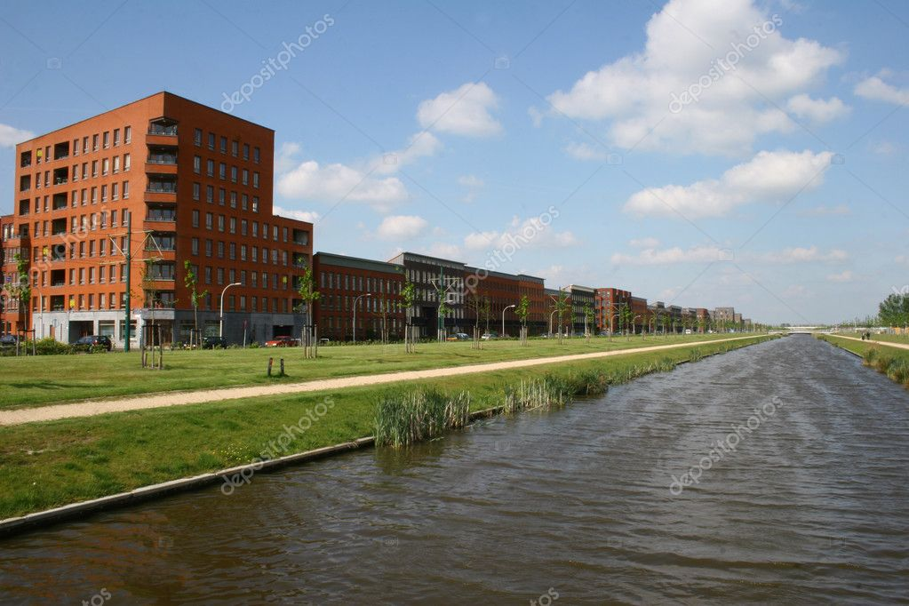 Modern houses and small water view  Stock Photo #8466741