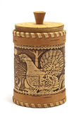 Russian birch bark box for honey on white background — Stock Photo