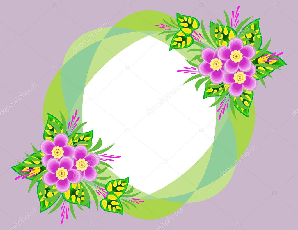 Illustration of abstract flowers in frame with background  Stock Vector #10487399