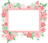 Frame with abstract flowers and butterflies — Stock Vector