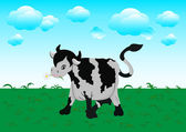 Chewing cow on a meadow — Stock Vector