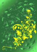 抽象的な花の飾りと抽象的な背景 — ストックベクタ