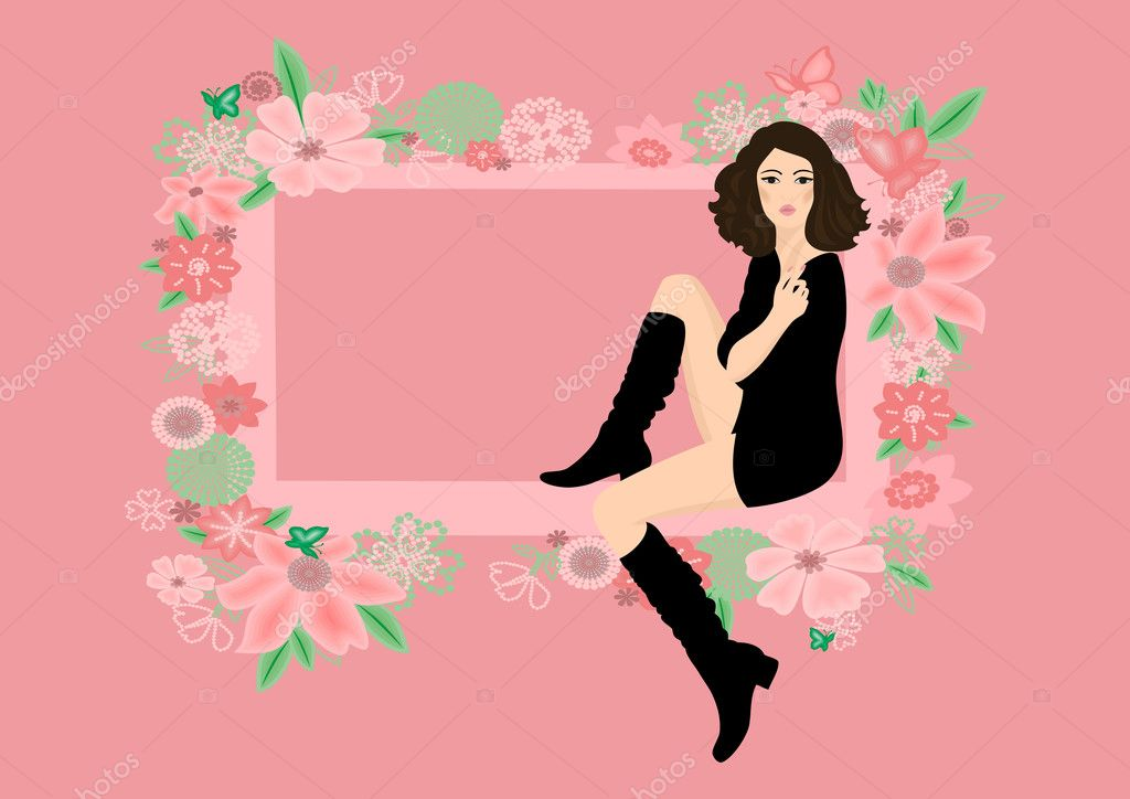 Illustration of beautiful woman in boots framed by abstract floral ornament  — Stock Vector #9417698
