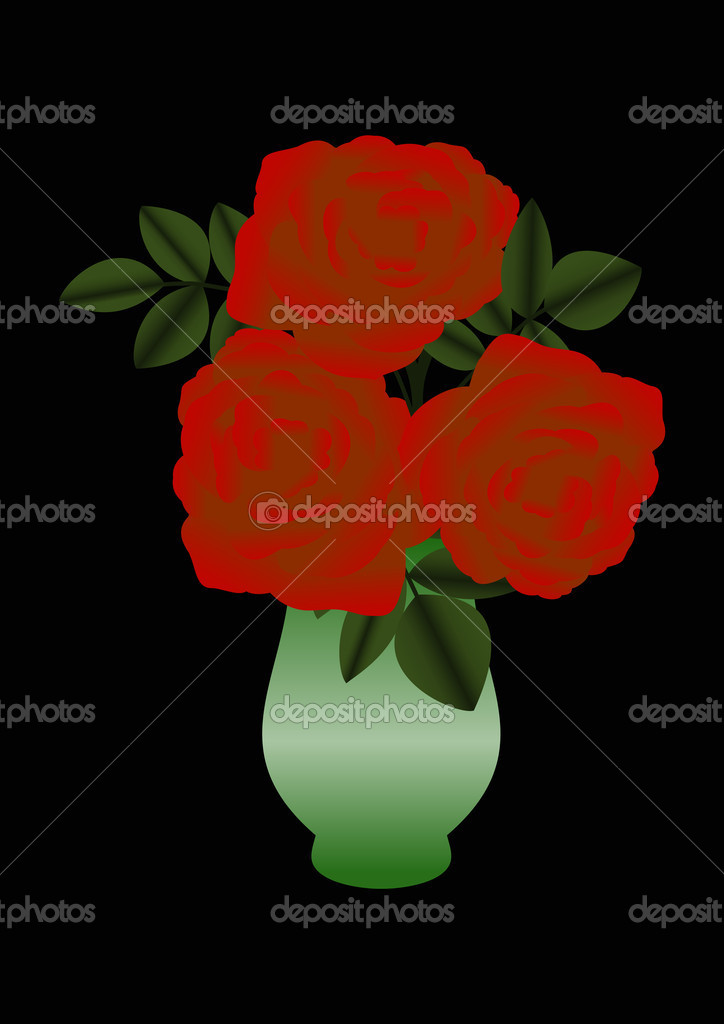 Illustration of red roses in a green vase  — Stock Vector #9423036