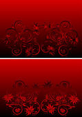 Abstract floral red and black ornament — Stock Vector