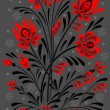 Abstract floral ornament in red and black colors — Stock Vector