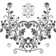 Abstract floral ornament in black, grey and white colors — Stock Vector