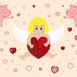 Little angel with big heart — Stock Vector