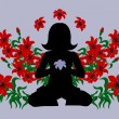 Royalty-Free Stock Vector Image: Meditating woman with red lilies