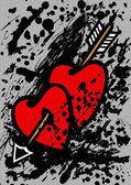 Hearts pierced with an arrow — Stock Vector