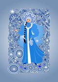 Beautiful snow maiden with background — Stock Vector