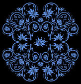 Abstract floral ornament in blue color — Stock Vector