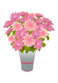 Bouquet of pink asters in blue vase — Stock vektor
