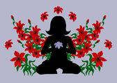 Mediterar kvinna med röda liljor — Stockvektor
