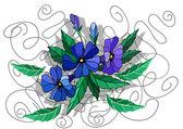 Belles fleurs abstraites dans les couleurs bleus — Vecteur