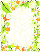 Frame from abstract flowers, leaves and butterflies — Stock Vector