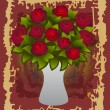 Stock Vector: Beautiful red roses in vase with background