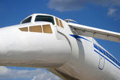 Russian airplane TU-144 tale and windows — Stock Photo