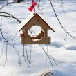 Wooden feeder for birds with a ring - Stock Photo