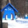 Stock Photo: Blue birds feeder hanging of tree and pigeon inside in winter