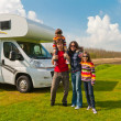 Family vacation in camping, motorhome trip - Stok fotoğraf