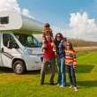 Family vacation in camping, motorhome trip - Stock Photo
