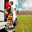 Royalty-Free Stock Photo: Family vacation in camping, motorhome trip