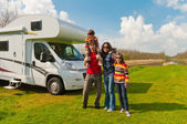 Family vacation in camping, motorhome trip — Foto de Stock