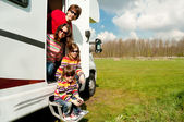 Family vacation in camping, motorhome trip — Stock Photo