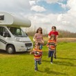 Family vacation in camping, motorhome trip — Stock Photo #10651403