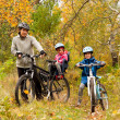 Постер, плакат: Happy active family cycling on bikes outdoors
