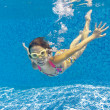 Happy child swims underwater in swimming pool — Stock Photo #9400737