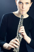Oboe musical instrument oboist playing — Stock Photo