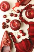 Accessory bra shoe red still-life — Stock Photo
