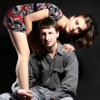 Beautiful couple fashion portrait — Stock Photo