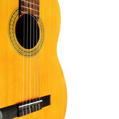Acoustic guitar isolated white background. — Stock Photo