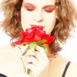 Portrait of woman with red rose — Foto de Stock