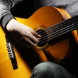 Acoustic guitar guitarist playing. — Stock Photo #8414168