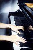 Piano pianist hands playing. — Stock Photo