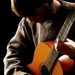 Guitarist musician acoustic guitar playing — Stock Photo