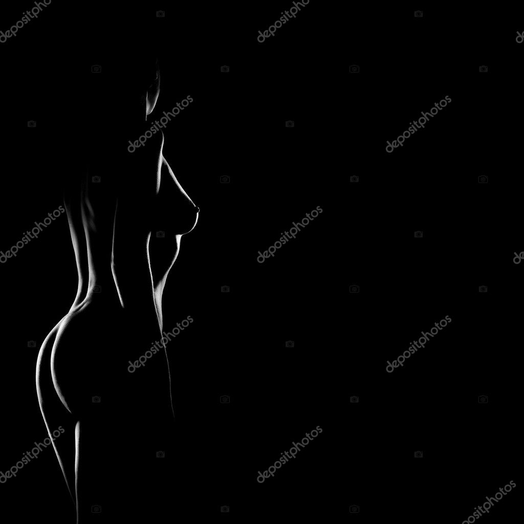 Nude woman sexy body. Naked sensual beautiful girl. Artistic black and white ...