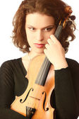 Portrait of violinist with violin — Stock Photo