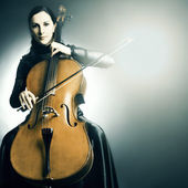 Cello musical instrument cellist musician playing — Stock Photo