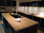 Modern trendy design black wooden kitchen — Photo