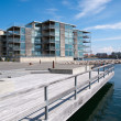 Modern seaside waterfront apartments building — Stock Photo